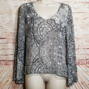 Ambiance Apparel | Sheer Floral Tunic